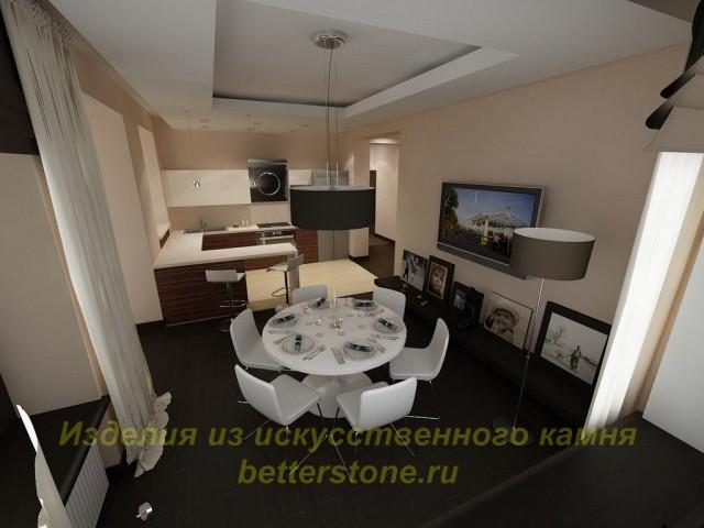Дизайн-проект просторной кухни