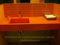 Оранжевая столешница с раковиной