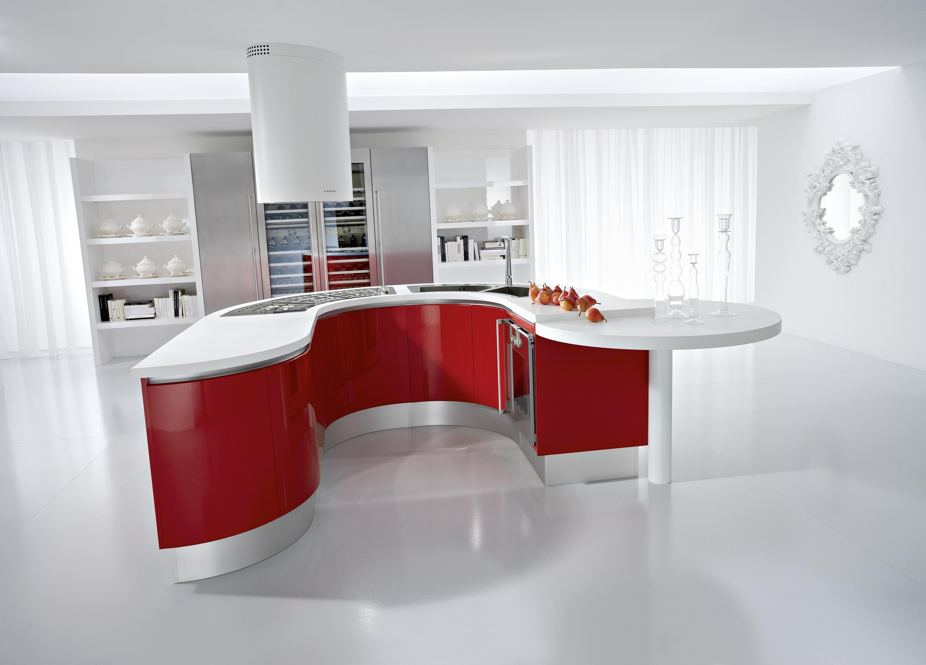 White-kitchen-with-red-island