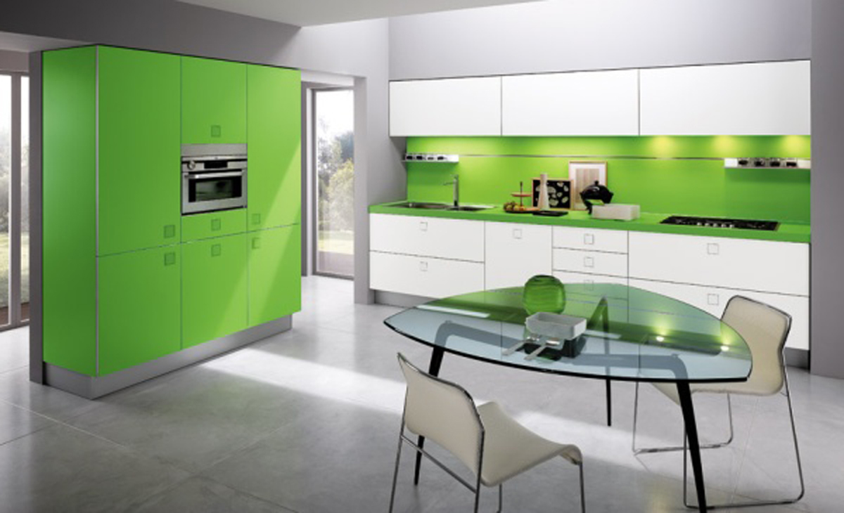 attractive-green-kitchen-layouts-ideas